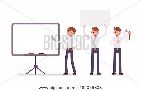 Set of young happy male clerk in formal wear, standing near empty whiteboard, holding frame, paper and poster for copyspace, presentation of information, full length, isolated, white background