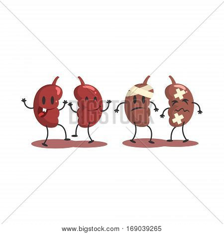 Kidneys Human Internal Organ Healthy Vs Unhealthy, Medical Anatomic Funny Cartoon Character Pair In Comparison Happy Against Sick And Damaged. Vector Illustration Humanized Anatomic Elements.