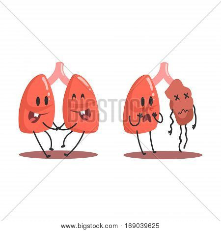 Lungs Human Internal Organ Healthy Vs Unhealthy, Medical Anatomic Funny Cartoon Character Pair In Comparison Happy Against Sick And Damaged. Vector Illustration Humanized Anatomic Elements.