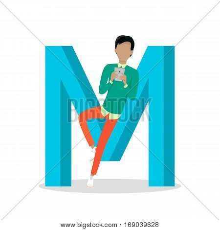 M letter and boy leans and chats on smartphone isolated. Social network. Alphabet with cartoon pictures of people using modern computer technologies for communication. Flat design. ABC vector