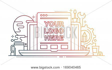 Programming Tools - vector modern line flat design illustration with copyspace for Your Logo. Laptop, web page, work place and tools - color gradient