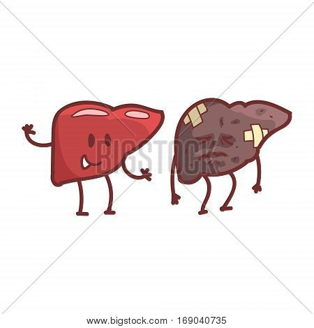 Liver Human Internal Organ Healthy Vs Unhealthy, Medical Anatomic Funny Cartoon Character Pair In Comparison Happy Against Sick And Damaged. Vector Illustration Humanized Anatomic Elements.