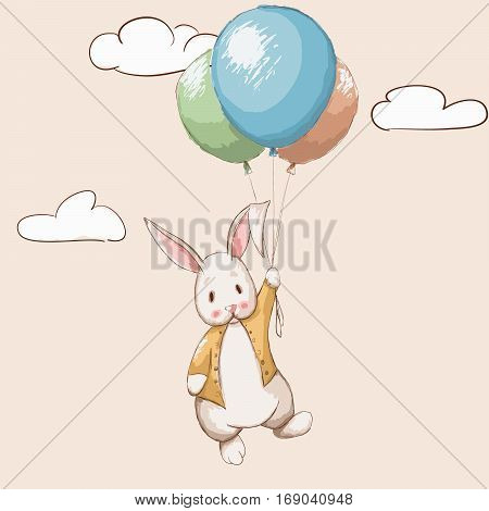 Cute rabbit flying with balloons to the sky.Cartoon childish vector illustration.