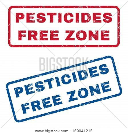 Pesticides Free Zone text rubber seal stamp watermarks. Vector style is blue and red ink caption inside rounded rectangular shape. Grunge design and unclean texture. Blue and red signs.