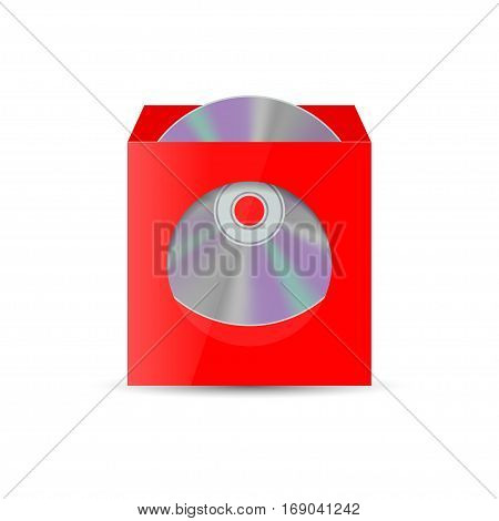 Color realistic envelope with a window for the CD isolated on white background vector illustration.