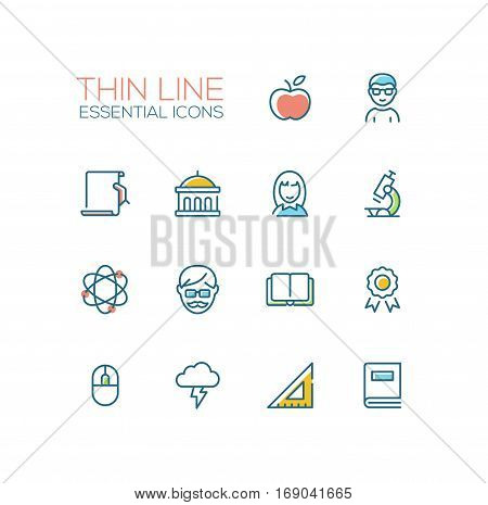 Education - modern vector plain simple thin line design icons and pictograms set with accent color. Apple, student, certificate, university, microscope, tutor, book, badge, science, computer mouse brainstorming ruler. Material design concept symbols