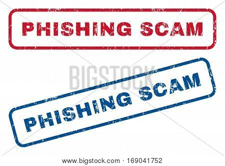 Phishing Scam text rubber seal stamp watermarks. Vector style is blue and red ink caption inside rounded rectangular shape. Grunge design and dirty texture. Blue and red emblems.