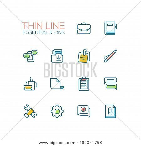 Business, Office - modern vector thin line design icons, pictograms set with accent color. Briefcase, notebook, message, folder, memo, coffee, clipboard, document speech bubble work tool cog information attachment. Material design concept symbols