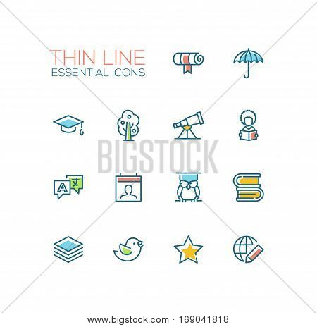 Education - modern vector simple thin line design icons and pictograms set with accent color. Scroll, umbrella, academic cap, tree, telescope, student, owl, books, translation, guides bird star globe. Material design concept symbols
