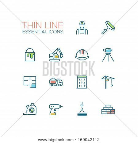 Construction - modern vector simple thin line design icons and pictograms set with accent color. Worker, roller, paint, excavator, hard cap, survey, plan, truck, building, crane, drill bricks, steel tape. Material design concept symbols