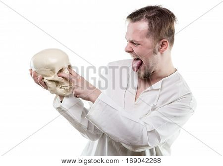 Comical man with human skull on white background