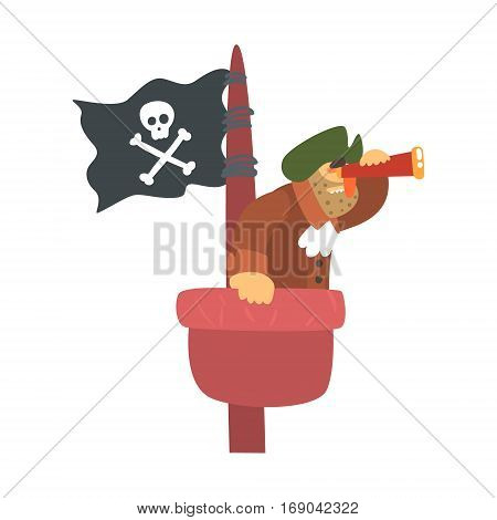 Scruffy Pirate On Mast Lookout With Pirate Flag And Looking Glass, Filibuster Cut-Throat Cartoon Character.