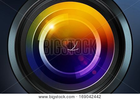 front view of photographic lens on dark background
