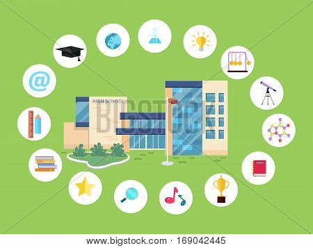 Set of school icons. School building, books, magnifier glass, sound, cup, chain, star, ruler, pencil, hat, globe earth flask lamp notebook device internet telescope School life symbols Vector