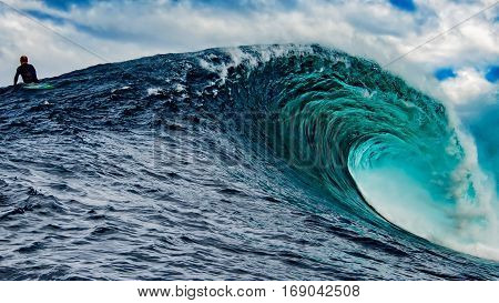 Big Wave Surfer at Shipstern Bluff, Tasmania