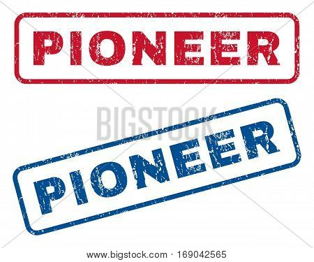 Pioneer text rubber seal stamp watermarks. Vector style is blue and red ink tag inside rounded rectangular shape. Grunge design and scratched texture. Blue and red signs.
