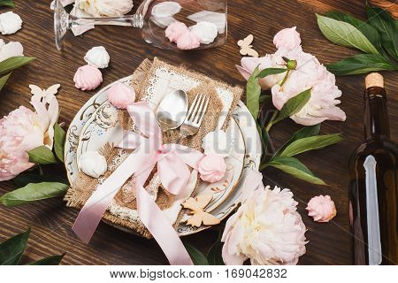 Tableware And Silverware With Puffy Light Pink Peonies