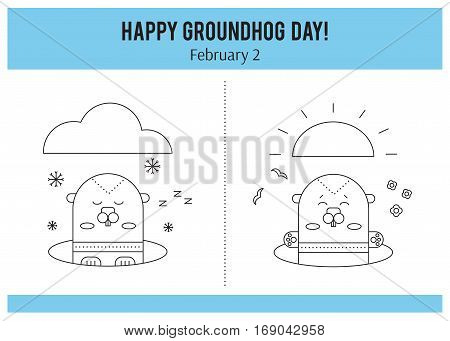 Vector thin line icons Groundhog day. Marmot looks out of the hole. February 2 tradition of the weather predicting. Simple mono linear modern design.