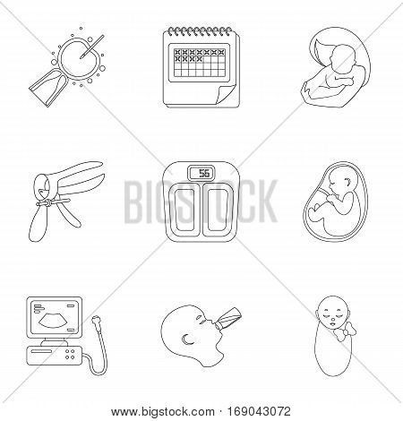 Pregnancy set icons in outline style. Big collection of pregnancy vector symbol stock