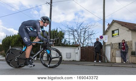 Conflans-Sainte-HonorineFrance-March 62016: The English cyclist Ian Stannard of Team Sky riding during the prologue stage of Paris-Nice 2016.