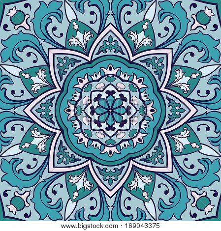 Eastern ornamental background. Template for carpet shawl textile cloth. Stylized turquoise mosaic. Oriental blue pattern.