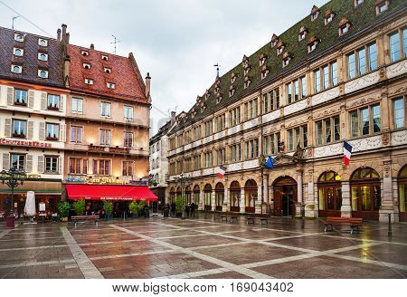 Strasbourg, France - February 2, 2015: Place Gutenberg Square in the historic center, or Grande Ile in Strasbourg in Grand East region of France.