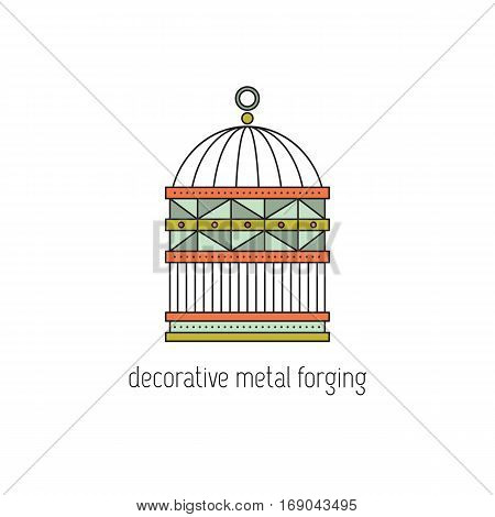 Decorative metal forging vector thin line icon. Handmade cage for birds. Isolated symbol. Logo template, element for business card or workshop announcement. Simple mono linear modern design.