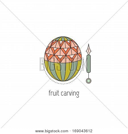 Fruit carving vector thin line icon. Decorated carved out watermelon. Colored isolated symbol. Logo template, element for business card or workshop announcement. Simple mono linear modern design.