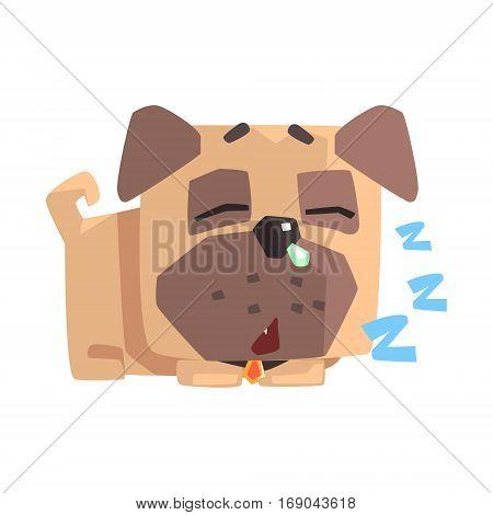 Little Pet Pug Dog Puppy With Collar Sleeping Emoji Cartoon Illustration.  Stylized Geometric Vector Design.