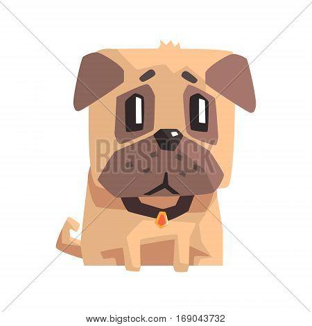 Upset Little Pet Pug Dog Puppy With Collar Emoji Cartoon Illustration.  Stylized Geometric Vector Design.