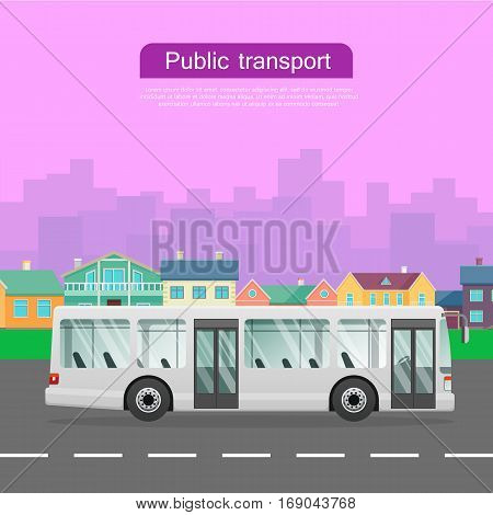 Urban public transport. White passenger bus with two automatic doors driving on road of city. Long four-wheeled auto. Some high skyscrapers and low houses on violet background. Vector illustration