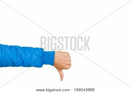 Man hand showing thumbs down isolated on white background. Dislike. Negative concept.