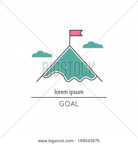 Vector thin line icon, flag on the mountain top. Metaphor of achieving goals and career. Colored isolated symbol. Career growth, achievement and aspiration. Simple mono linear modern design.