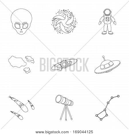 Space set icons in outline style. Big collection of space vector symbol stock