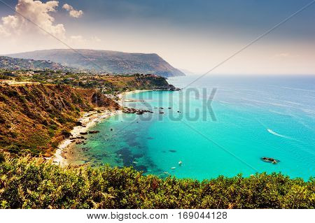 Capo Vaticano, region of Calabria, Italy. Grotticelle beach