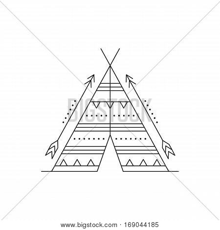 Tribal vector thin line icon, indian wigwam and arrows. Boho element, bohemian style, ethnic american symbol. Black on white isolated illustration. Simple mono linear modern design.