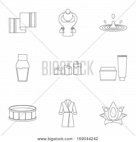 Spa set icons in outline style. Big collection of spa vector symbol stock