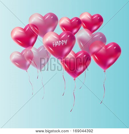 Heart balloons flying to the sky vector decoration. Red Heart balloons isolated on blue sky background. Heart romance love symbol for Valentine's Day, Birthday, Wedding, celebration greeting cards, invitation, advertising, banners design.