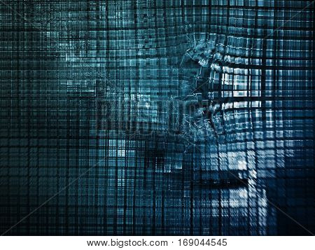 Abstract background element.Three-dimensional composition of curves and mosaic halftone effects. Technology, science or education concept.  Blue and white colors. 3d rendering.