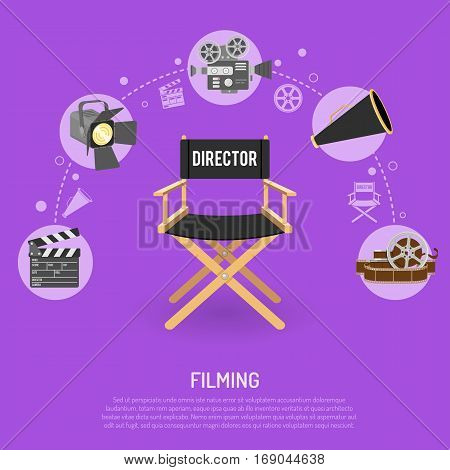 Cinema and filming concept with flat icons film reel, director chair, bullhorn, clapperboard, isolated vector illustration