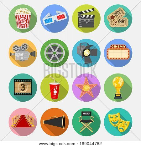 Cinema and Movie Flat Icons Set with popcorn, award, clapperboard, tickets on colored circles with Long Shadows. Isolated vector illustration