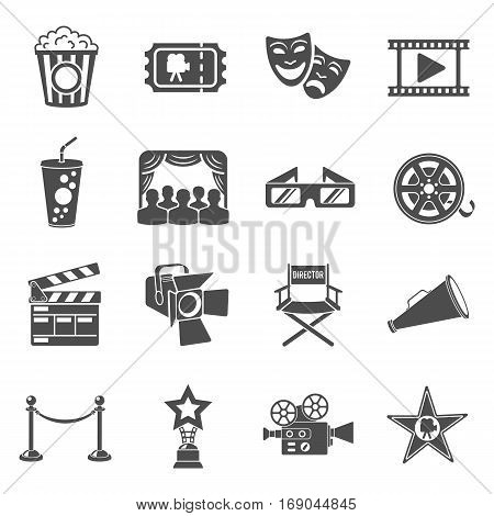 Cinema and Movie Icons Set with popcorn, award, clapperboard, tickets and 3D glasses. Isolated vector illustration