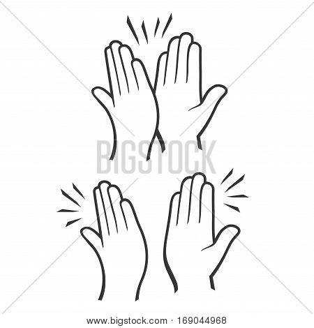 Two Hands Giving a High Five Icons Set. Vector illustration