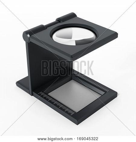 Printing loupe isolated on white background. 3D illustration.