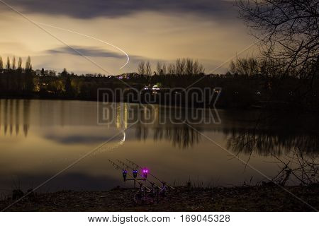 Carp Fishing Angling At Night With Illuminated Alarms