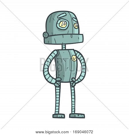 Serious And Calm Blue Robot Cartoon Outlined Illustration With Cute Android And His Emotions. Comic Vector Sticker With Humanoid Artificial Intelligence Character.
