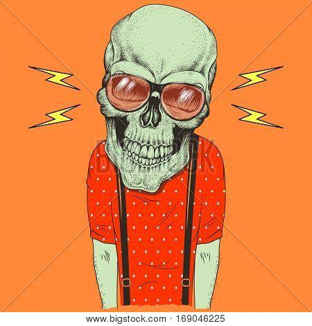 Cartoon skull music fan vector hand drawn illustration. T-shirt design