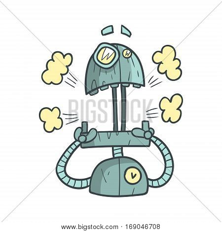 Shocked And Scared Blue Robot Cartoon Outlined Illustration With Cute Android And His Emotions. Comic Vector Sticker With Humanoid Artificial Intelligence Character.
