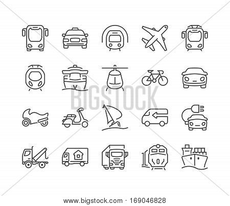set of icons isolated for logisticsdelivery and transportation public and private