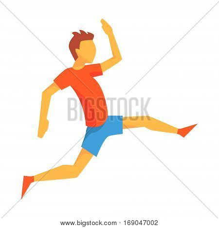 Man Accelerating For Triple Jump, Male Sportsman Running The Track In Red Top And Blue Short In Racing Competition Illustration.